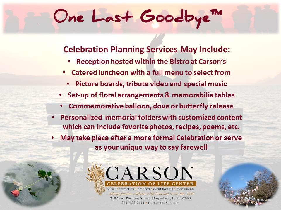One Last Goodbye™ - Maquoketa Iowa Funeral and Cremation