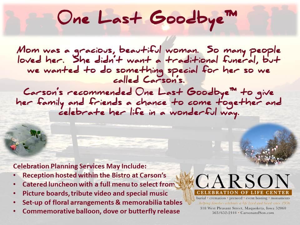 One Last Goodbye™ - Maquoketa Iowa Funeral and Cremation ...